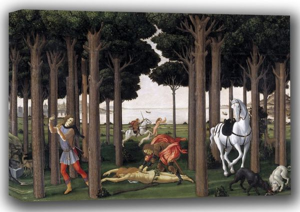 Botticelli, Sandro: Disembowelment of the Woman Pursued: Scene II of The Story of Nastagio degli Onesti. Fine Art Canvas. Sizes: A4/A3/A2/A1 (001886)